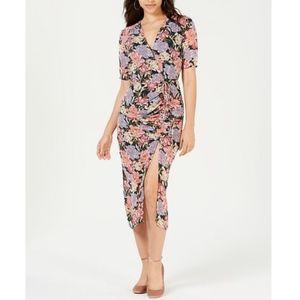 LEYDEN Printed Ruched Midi Dress